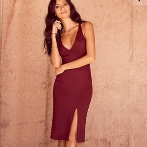 Lulus Burgundy Gathering Glances Bodycon Dress